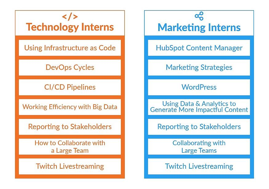 A list of key skills botch technology and marketing interns will learn.